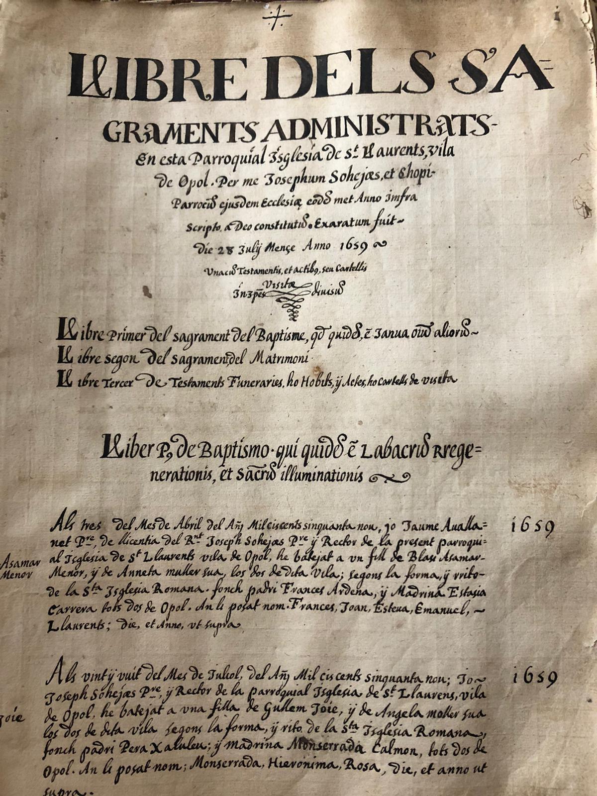 1ere page registre 1659