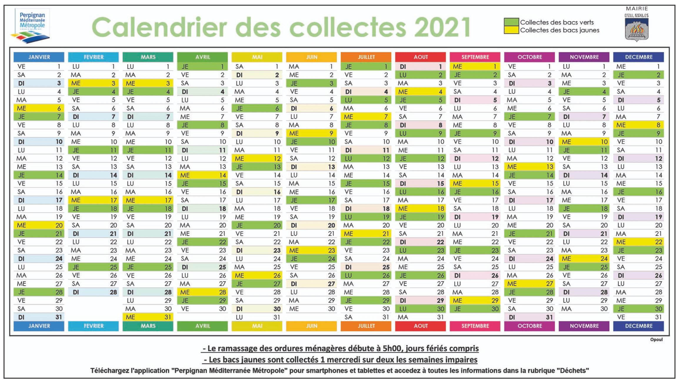 Calendrier collecte 2021