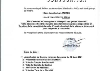 Conseil Municipal du 15 avril 2021