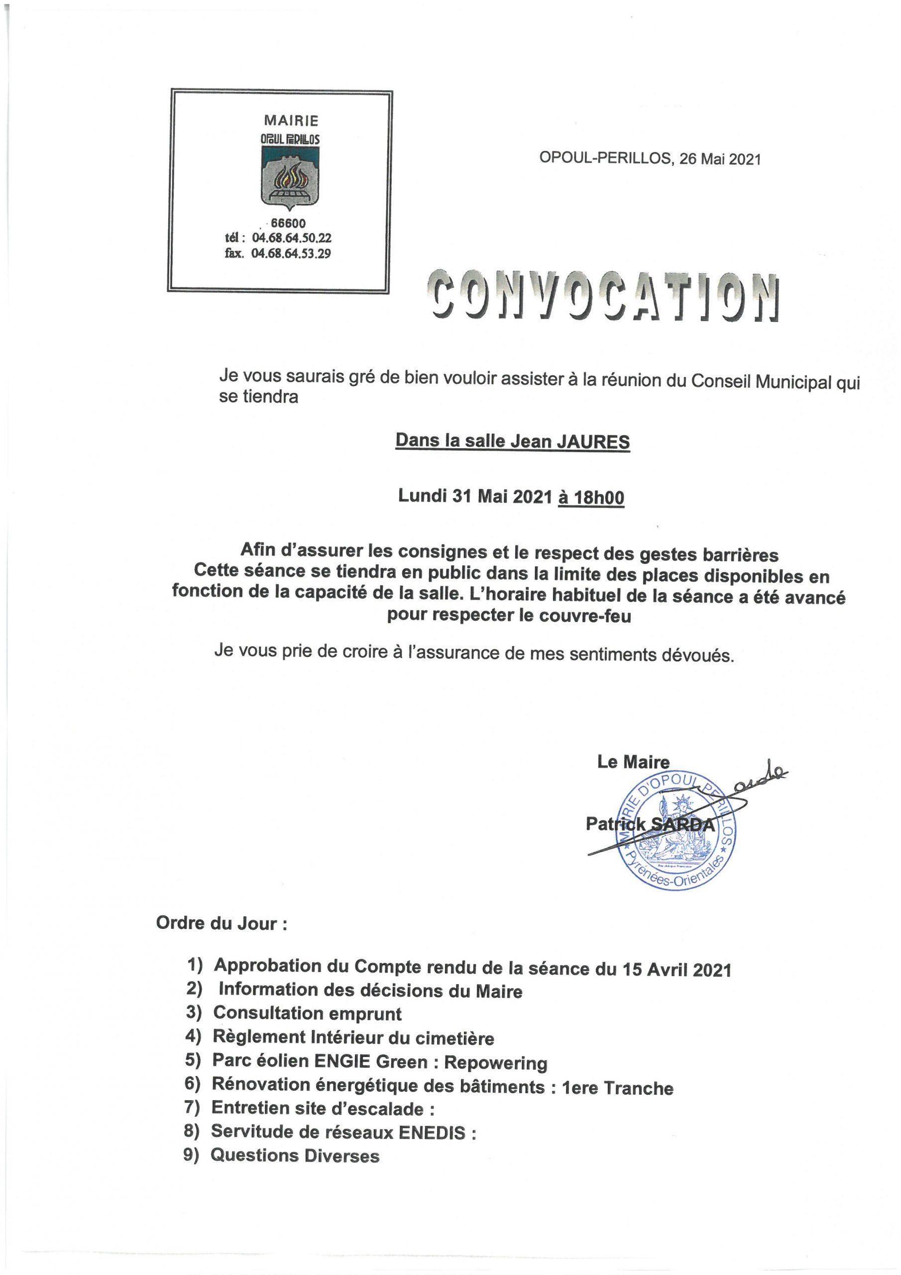Convocation conseil municipal du 31 mai 2021