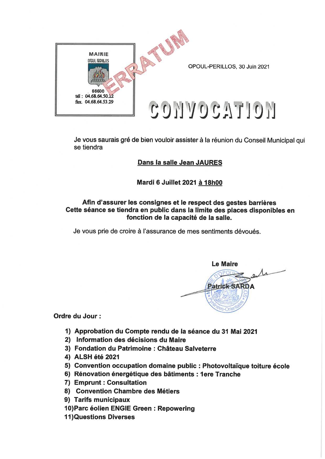 Convocation Conseil Municipal du 6 juillet 2021